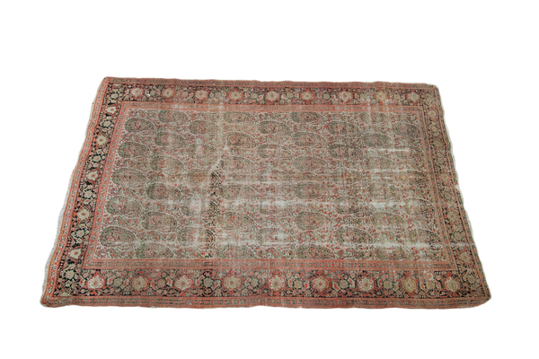 4x6 Distressed Antique Senneh Persian Area Rug - Old New House