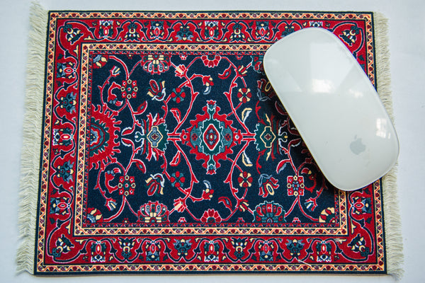 Deep Blue Turkish Rug Made in USA Mouse Pad - Old New House