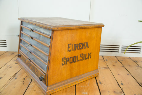 Antique Victorian Eureka Silk Spool Cabinet - Old New House