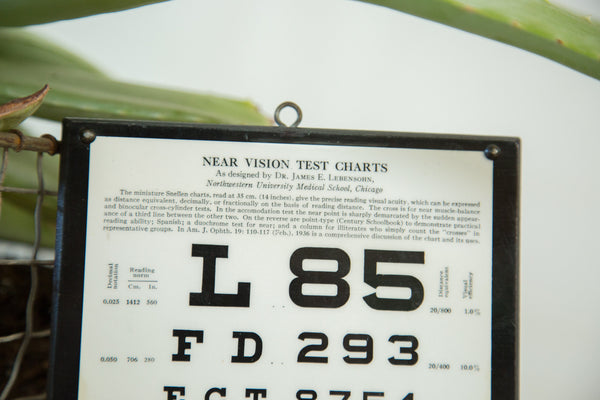 Vintage Eye Chart Near Vision Exam Plaque - Old New House