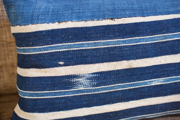 Handwoven Striped Indigo Lumbar Pillow - Old New House