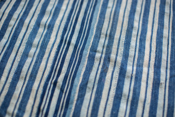 2.5x5 Indigo Blue Striped Textile Runner - Old New House