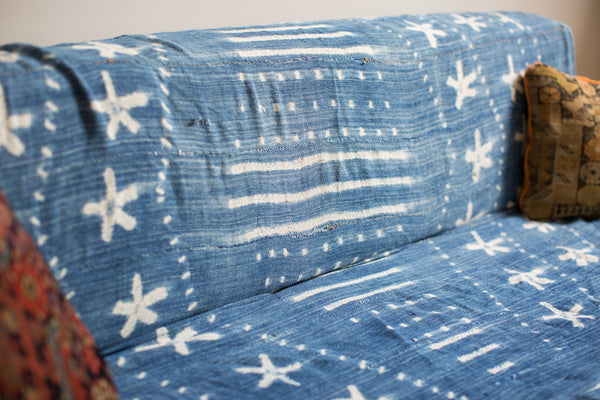 Vintage Batik Blue Throw - Old New House
