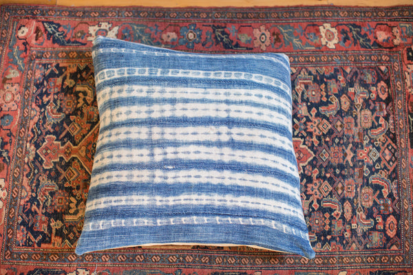 24x24 Large Faded Indigo Blue Pillow - Old New House