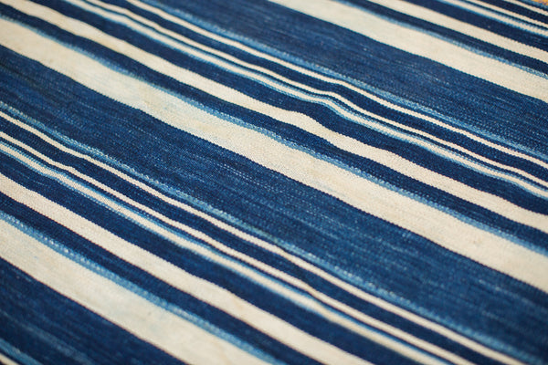 3.5x4.5 Indigo Blue Striped Textile - Old New House