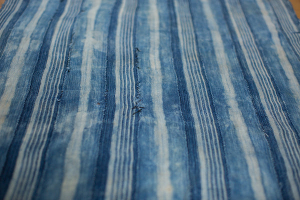 3x4 Square Indigo Blue Striped Textile - Old New House