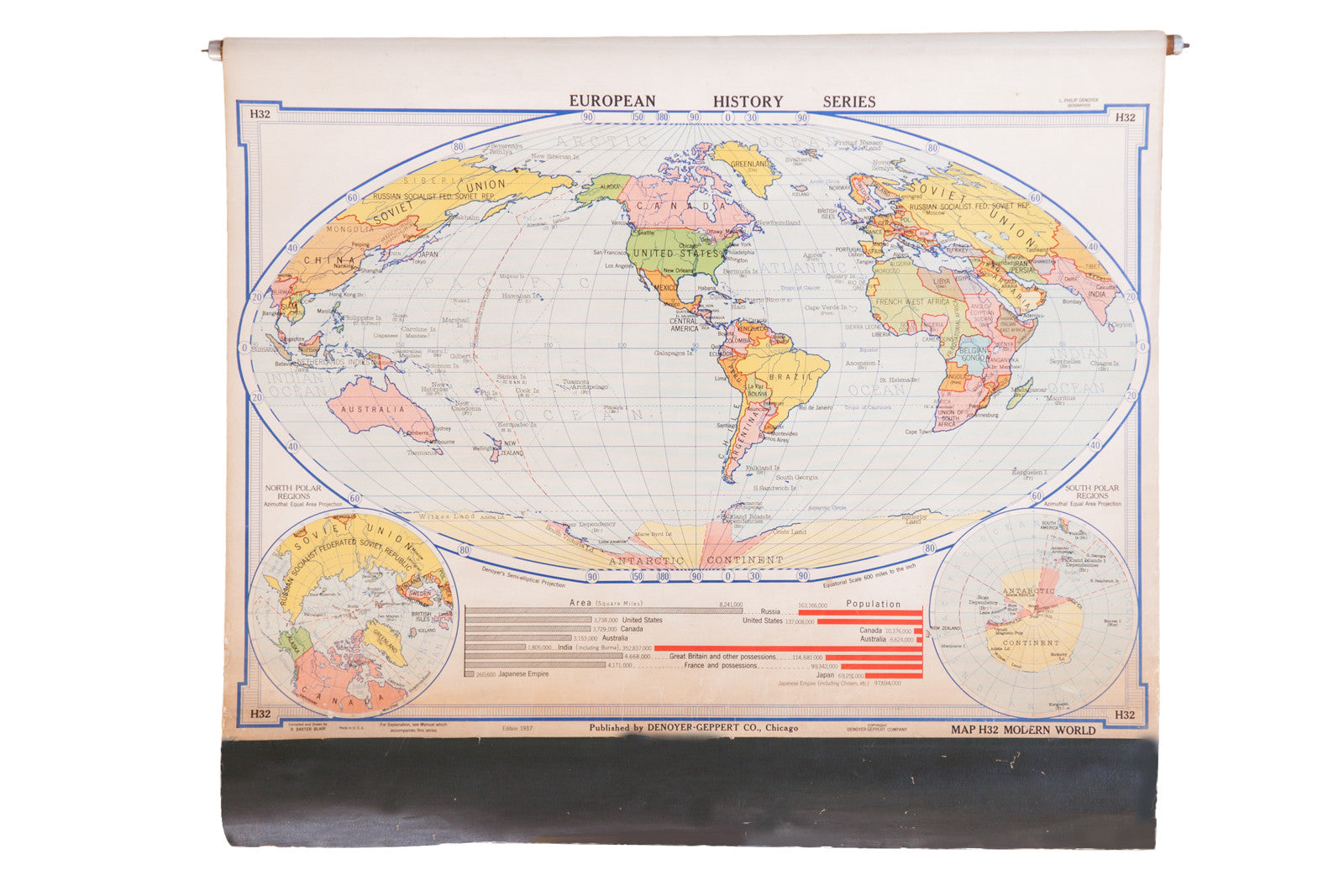 Vintage 1930s pull down map of modern world previous image next image sold vintage 1930s pull down map of modern world gumiabroncs Choice Image