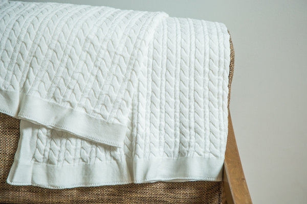 Organic Cotton White Cable Knit Blanket - Old New House