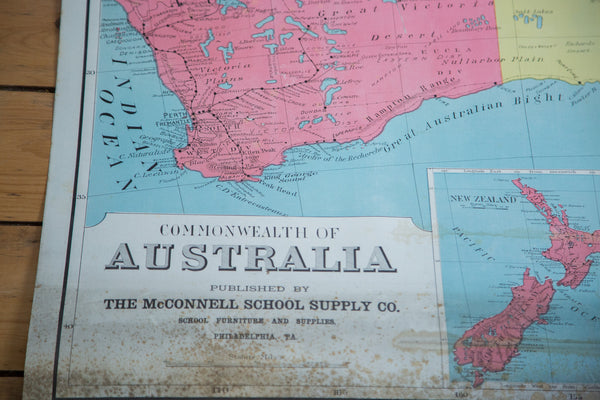 Vintage Pull Down Map Australia - Old New House