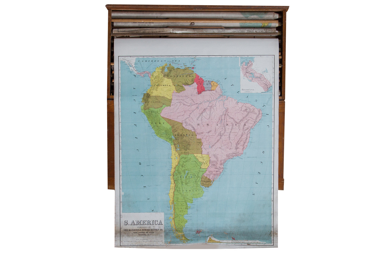 Vintage Pull Down Map South America
