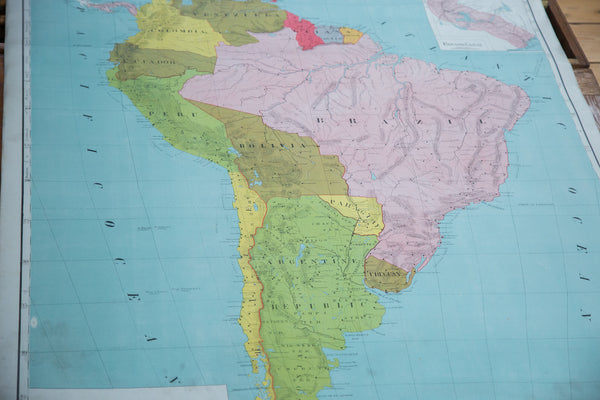 Vintage Pull Down Map South America - Old New House