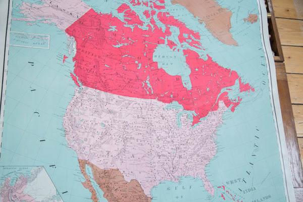 Vintage Pull Down Map North America - Old New House