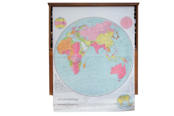 Vintage Pull Down World Map Eastern Hemisphere - Old New House