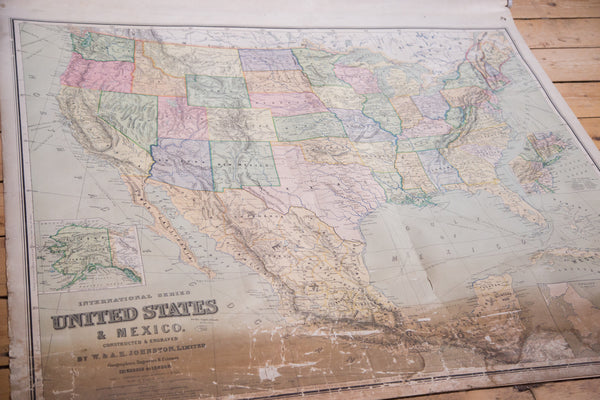 USA and Mexico Antique Pull Down Map - Old New House