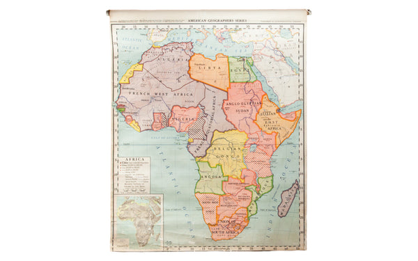 Vintage Classroom Pull Down Map of Africa - Old New House