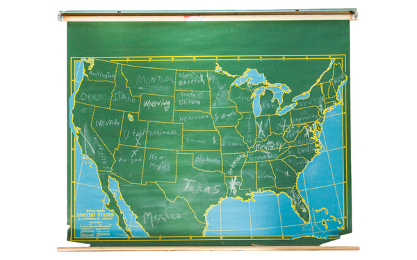 Vintage Chalkboard World Pull Down Map - Old New House