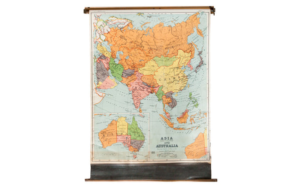 Vintage Asia and Australia Pull Down Map - Old New House