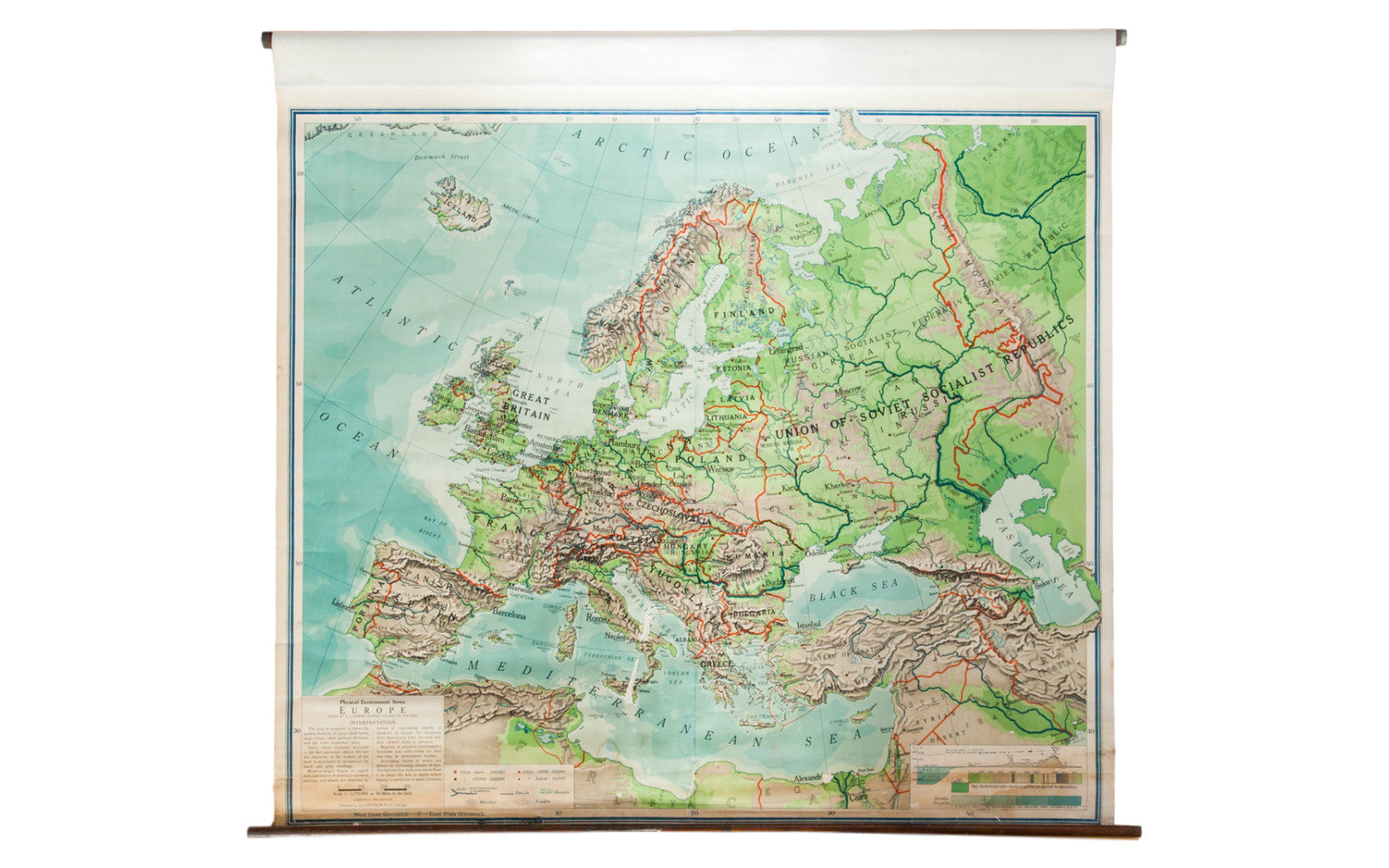 1930s Map Of Europe.Vintage 1930s Pull Down Map Of Europe