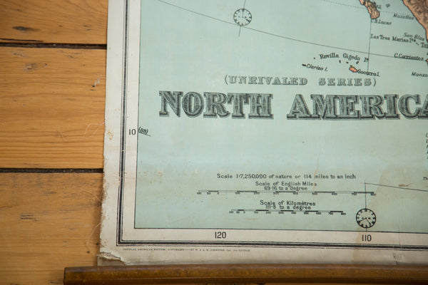 Antique W & AK Johnston Pull Down Map of North America - Old New House
