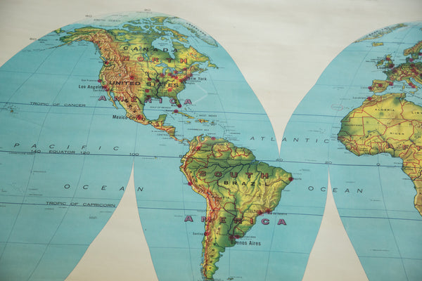 Vintage 1960's World Pull Down Map - Old New House