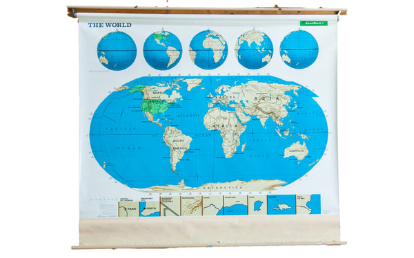 Vintage Markable World Pull Down Map - Old New House