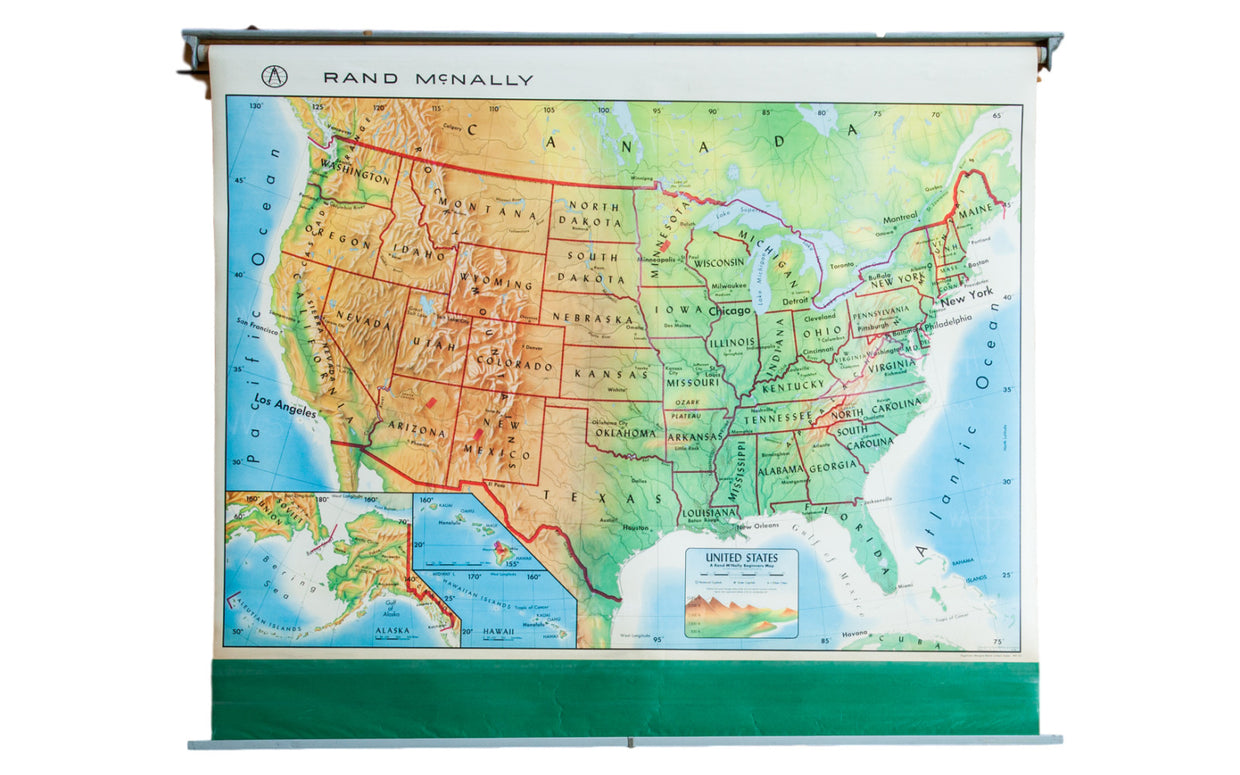 Vintage 1960s America Pull Down Map - Old New House