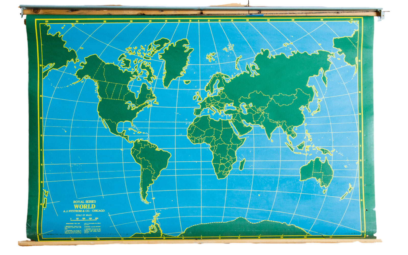 Roll Down World Map.Vintage Chalkboard World Usa Pull Down Map