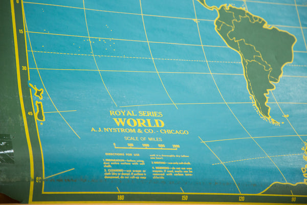 Vintage Chalkboard World & USA Pull Down Map - Old New House