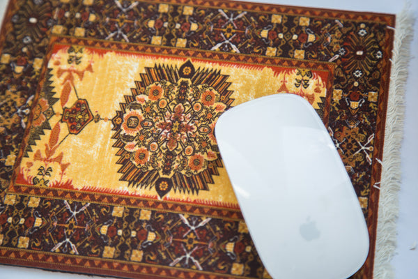 Ivory Gold Persian Rug Mouse Pad - Old New House