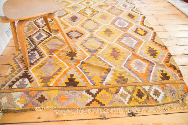 5x7.5 Vintage Yellow and Orange Kilim Area Rug - Old New House