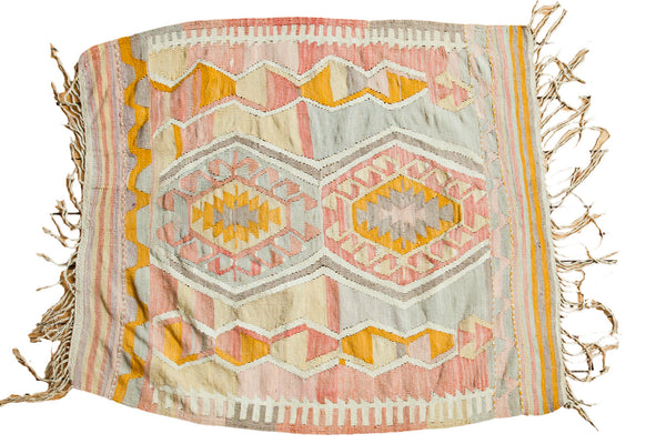 3.5x5 Vintage Faded Pink and Yellow Kilim Rug - Old New House