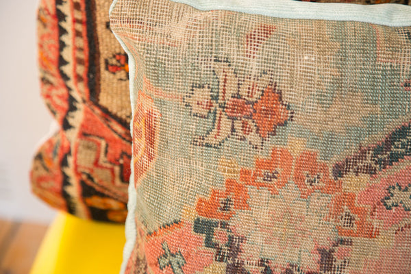 Antique 18th Century Turkish Rug Fragment Pillow - Old New House