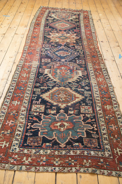 3.5x11 Distressed Antique Karaja Rug Runner - Old New House