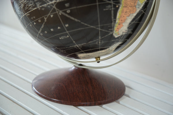 Vintage 1960s Rand McNally Black Globe - Old New House