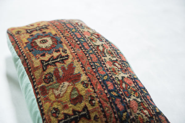 Antique Bijar Rug Border Fragment Pillow - Old New House
