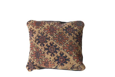 Antique Turkmen Rug Fragment Pillow - Old New House