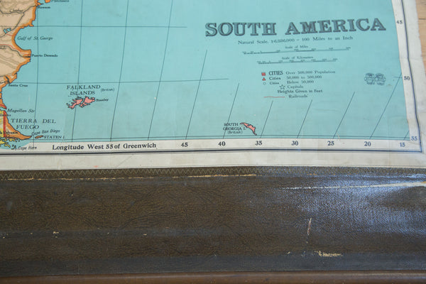 Antique Nystrom Pull Down Map of South America - Old New House