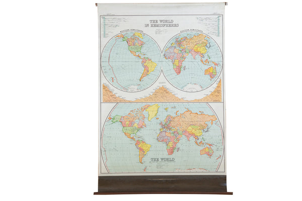 Antique Nystrom Pull Down Map of World - Old New House