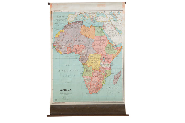 Antique Nystrom Pull Down Map of Africa - Old New House