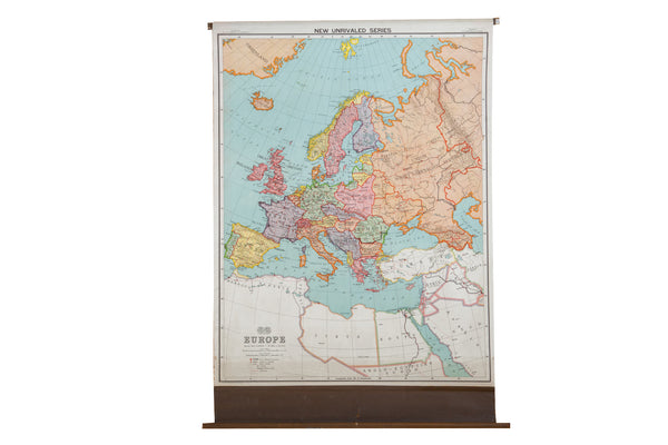 Antique Nystrom Pull Down Map of Europe - Old New House