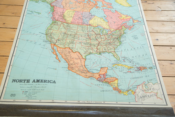 Antique Nystrom Pull Down Map of North America - Old New House