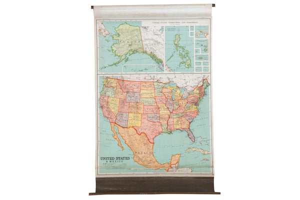 Antique Nystrom Pull Down Map of USA - Old New House