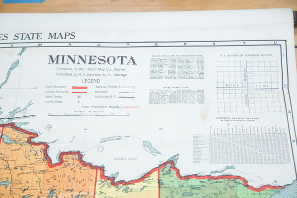 Antique Nystrom Pull Down Map of Minnesota - Old New House