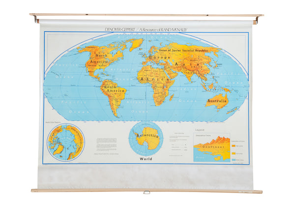 Vintage 1960s Denoyer Geppert World Pull Down Map - Old New House