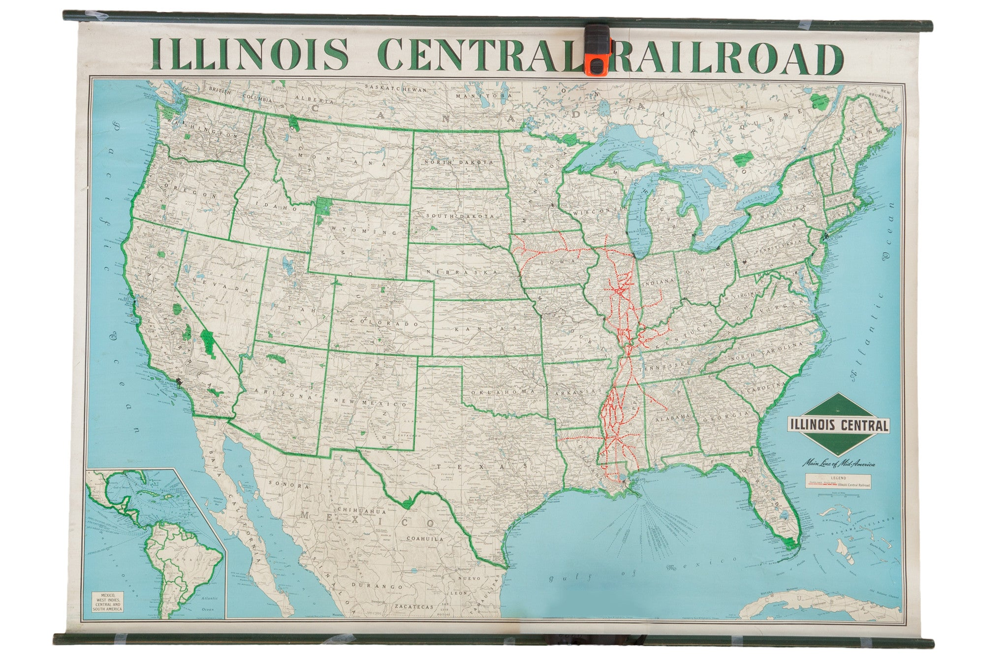 Vintage Illinois Central Railroad Pull Down Map