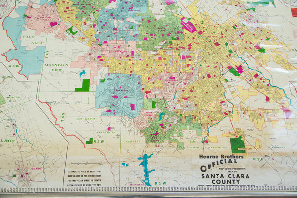 Vintage Santa Clara County California Pull Down Map - Old New House
