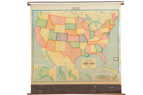 Vintage 1930s Crams Pull Down Map - Old New House
