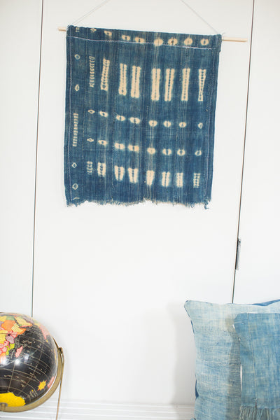 Vintage Indigo Blue Batik Wall Hanging - Old New House