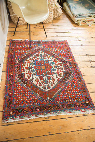 3.5x4.5 Vintage Distressed Afshar Square Rug - Old New House