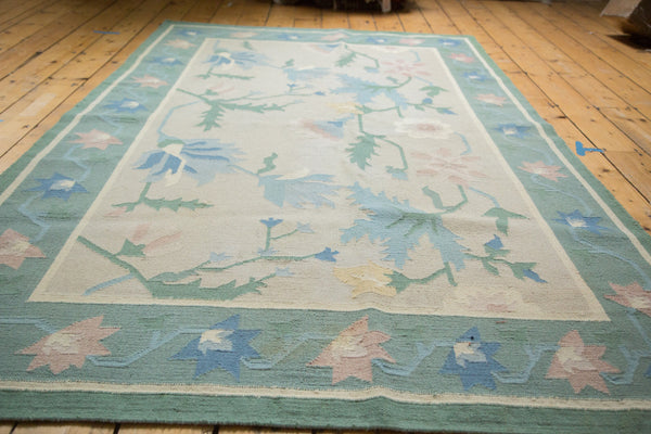 5x8.5 Vintage Minimalist Green Dhurrie Carpet - Old New House